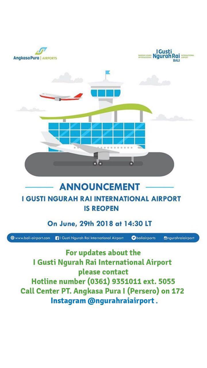 Pukul 14.30 WITA Bandara I Gusti Ngurah Rai Dibuka Kembali