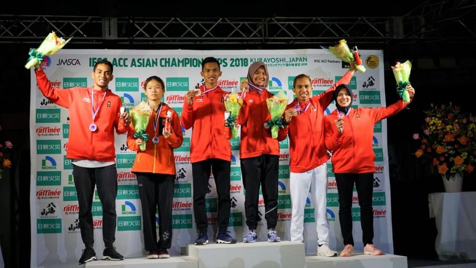 Indonesia Kawinkan Emas di Kejuaraan Panjat Tebing Asia