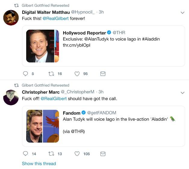 Warganet Kecewa Disney Tak Panggil Gilbert Gottfried untuk Film Aladdin - Foto 1