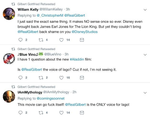 Warganet Kecewa Disney Tak Panggil Gilbert Gottfried untuk Film Aladdin - Foto 2