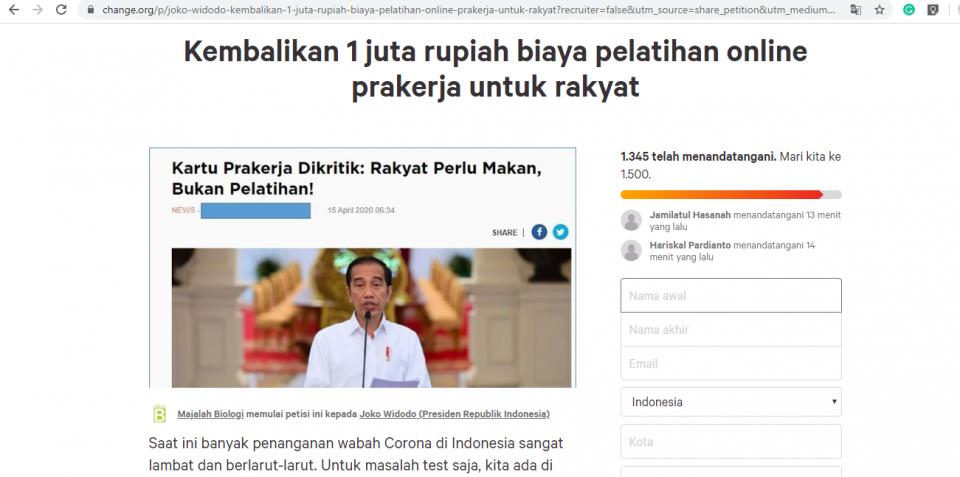 Petisi Desak Presiden Batalkan Konsep Pelatihan Online Kartu Pra Kerja - Foto 1