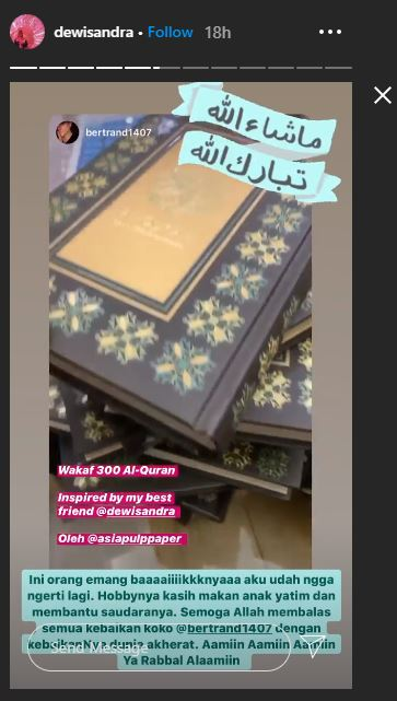 Bikin Dewi Sandra Kagum, Aksi Bertrand Antolin Artis Nonmuslim Wakafkan 300 Al-Quran - Foto 2