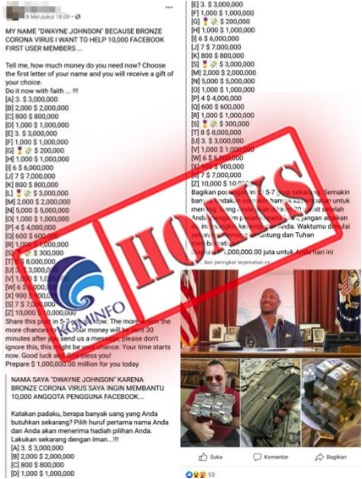 Hoaks Dwayne Johnson Beri Uang Bantuan Covid-19 untuk 10 Ribu Pengguna Facebook - Foto 1