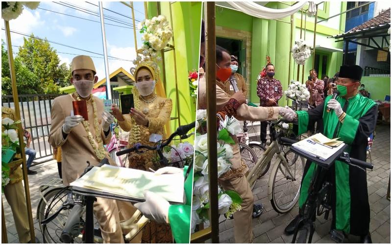 Meriahnya Nikah Bareng HUT Kota Jogja ke-264, 4 Pasangan Nikah Naik Sepeda