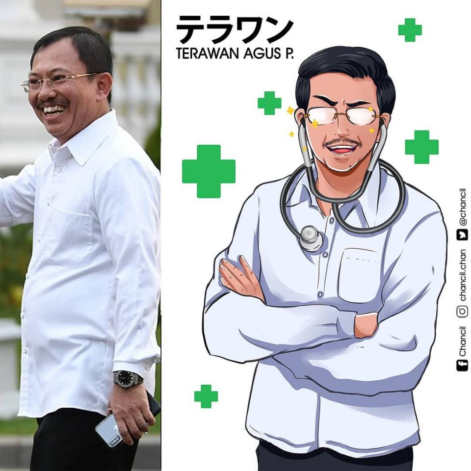 7 Potret Keren Menteri Kabinet Indonesia Maju Versi Karakter Anime, Bikin Pangling - Foto 2