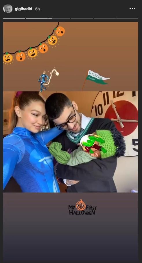 Gemas Gigi Hadid dan Zayn Malik Rayakan Halloween Pertama Bersama Putri Mereka - Foto 1
