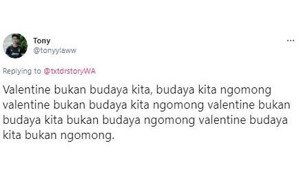 Sering Jadi Perdebatan, 5 Cuitan Kocak Warganet Soal Valentine Bukan Budaya Kita - Foto 4
