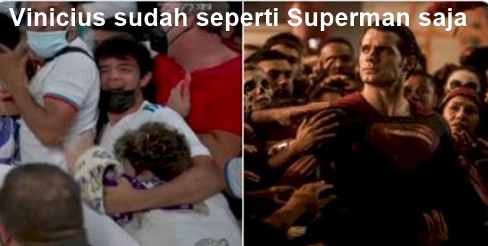 5 Meme Kocak Selebrasi Vinicius Jr, Seperti Superman... - Foto 5
