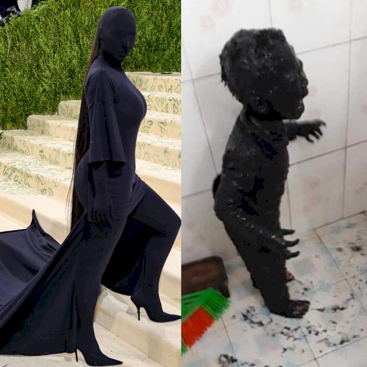 5 Potret Parodi Kim Kardashian di Met Gala 2021, Mirip Dementor - Foto 1