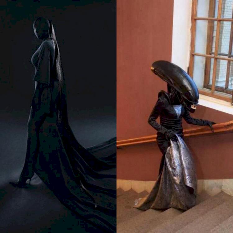 5 Potret Parodi Kim Kardashian di Met Gala 2021, Mirip Dementor - Foto 5