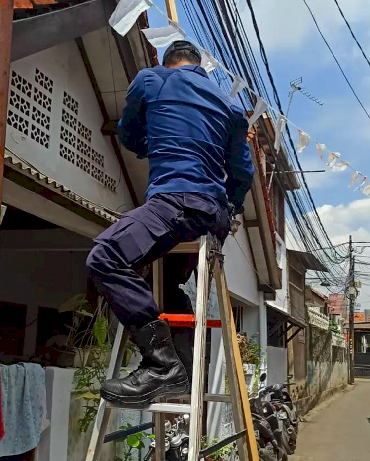 Aksi Heroik Petugas Damkar Bantu Evakuasi Burung Gereja yang Tersangkut di Kabel Listrik - Foto 3
