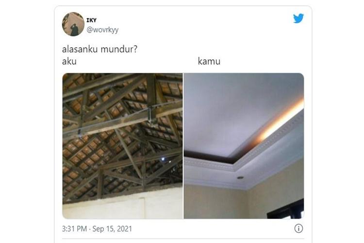 Kocak, Meme Plafon Rumahku vs Gebetan ini Bikin Warganet Auto Curhat