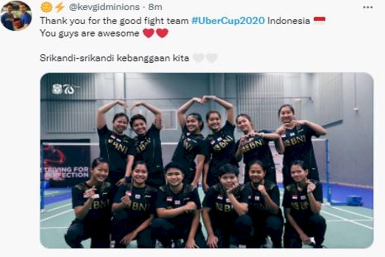 Ini Deretan Ucapan Terima Kasih Fans Indonesia untuk Tim Uber Cup, Tetap Bangga - Foto 4