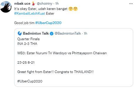 Ini Deretan Ucapan Terima Kasih Fans Indonesia untuk Tim Uber Cup, Tetap Bangga - Foto 2