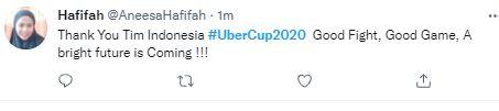 Ini Deretan Ucapan Terima Kasih Fans Indonesia untuk Tim Uber Cup, Tetap Bangga - Foto 5