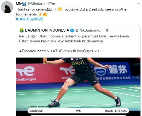 Ini Deretan Ucapan Terima Kasih Fans Indonesia untuk Tim Uber Cup, Tetap Bangga - Foto 1
