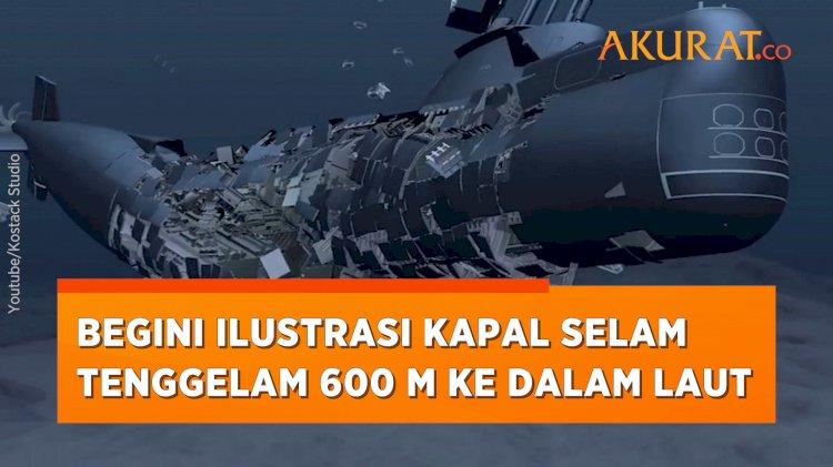 Ilustrasi Kapal Selam yang Hancur Tenggelam 600 Meter ke Dalam Laut