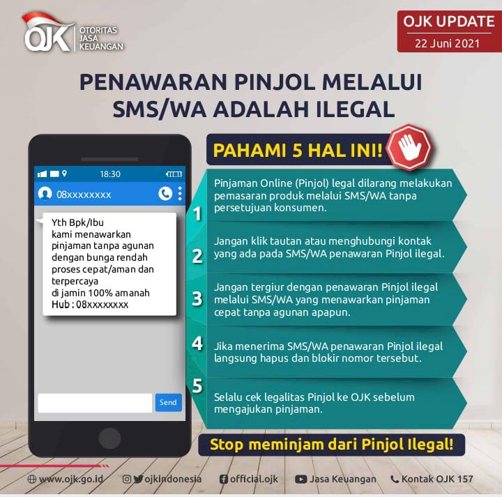 OJK: Penawaran Pinjol via SMS atau WA adalah Ilegal - Foto 1