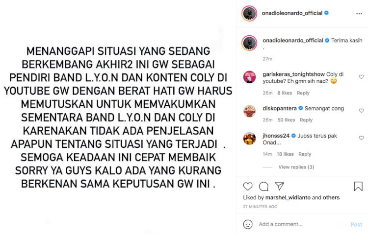 Imbas Kelakuan Okin, Onad Leonardo Vakumkan Band L.Y.O.N - Foto 1