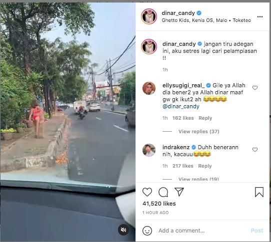 Tepati Janjinya, Dinar Candy Pakai Bikini di Pinggir Jalan Karena Stres Akibat PPKM - Foto 1