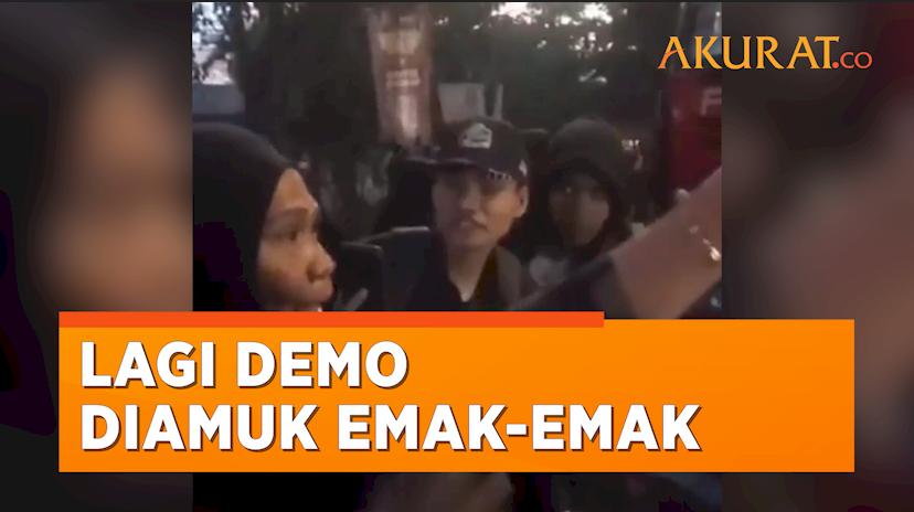Blokir Jalan Hingga Bikin Macet, Aksi Demonstrasi Mahasiswa Dibubarkan Emak-Emak